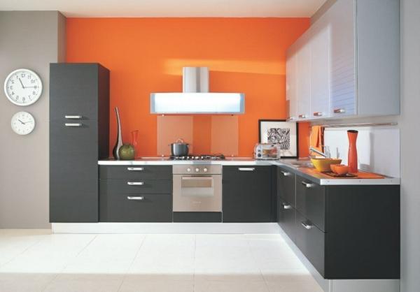 graue-und-orange-farbe-für-küchenmöbel - interieur in orange