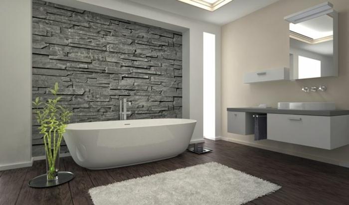 Graue Wandfarbe Badezimmer Modernes Aussehen   Modernes Badezimmer Grau