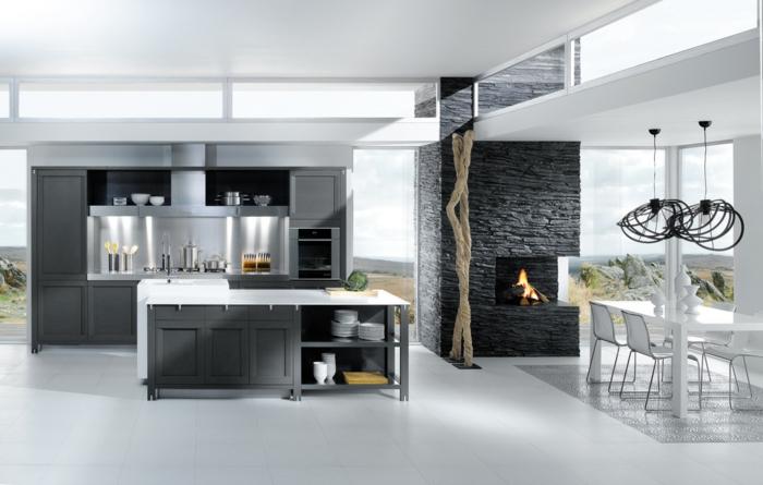 graue-wandfarbe-für-modern-küchengestaltung
