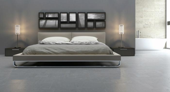 Graue Wandfarbe Schlafzimmer Modernes Design Schöne Beleuchtung