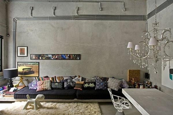 graut ne wandfarbe k che gro gestalten viele dekokissen. Black Bedroom Furniture Sets. Home Design Ideas