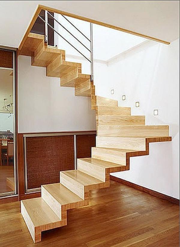 hölzerne-halbgewendelte-treppe - modernes haus