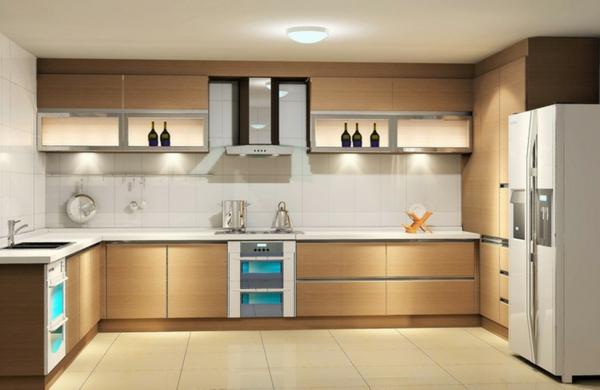 helle-küche-mit-modernen-küchenmöbeln - farbtönungen in beige