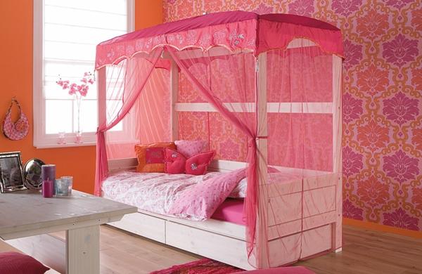 himmelbett-für-mädchen-rosige-farbe - neue wandgestaltung