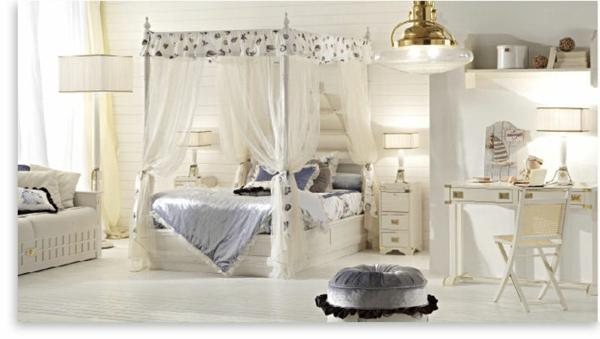 himmelbett-weiß-elegante-gestaltung - vorhänge - durchsichtig