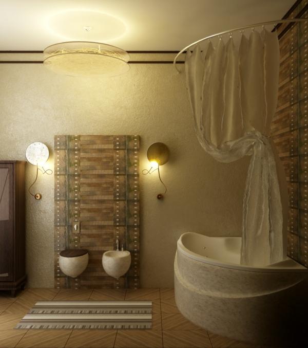 ideen-für-kleines-bad-goldene-farbe - schlichte beleuchtung
