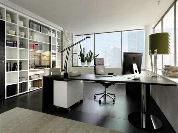 ikea-arbeitszimmer-kreative-gestaltung- wand mit regalen