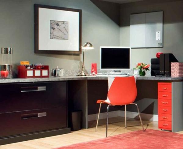 ikea-arbeitszimmer-roter-stuhl- kleine rote schubladen