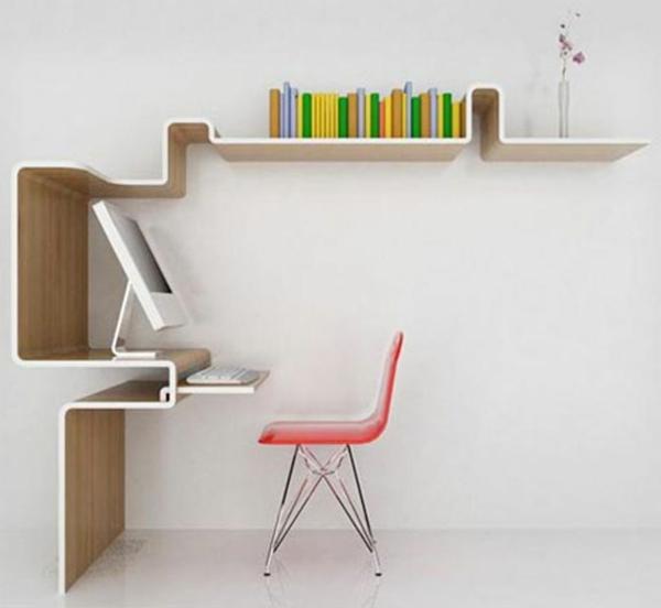 ikea-büromöbel-extravagantes-design- wand in weiß