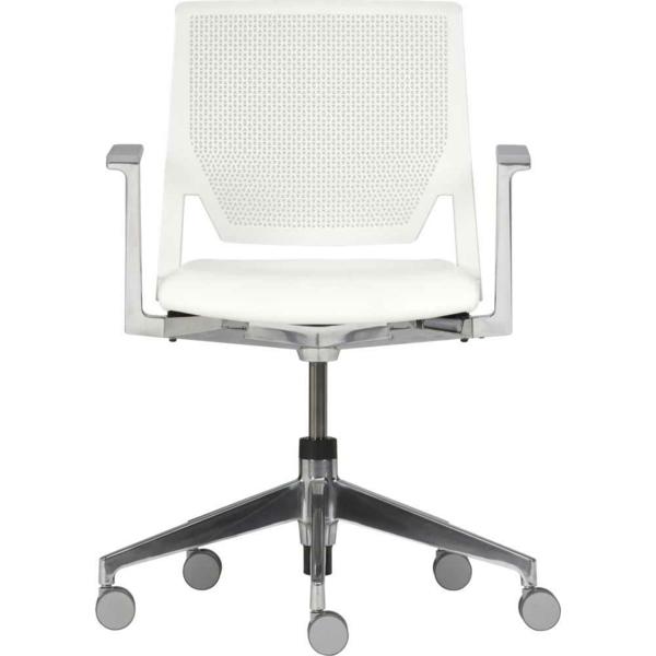 ikea-büromöbel-weißer-stuhl-auf-rollen- hintergrund in weiß