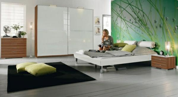 inneneinrichtung-ideen-schlafzimmer-akzentwand-schwarzer-teppich