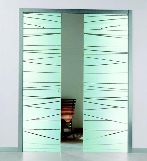 innentüren-aus-glas-türkis-farbe- modern