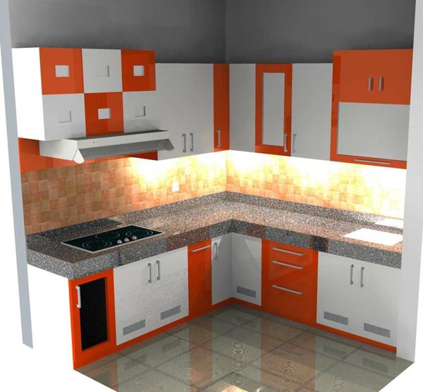 küche-mit-einer-kochinsel-und-spüle-mit-unterschrank- weiß und orange zusammenbringen