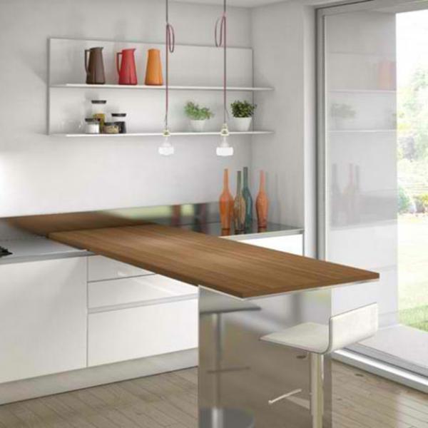 küchenmöbel-lackieren-holztisch-eingebaut - interessantes modell vom esstisch