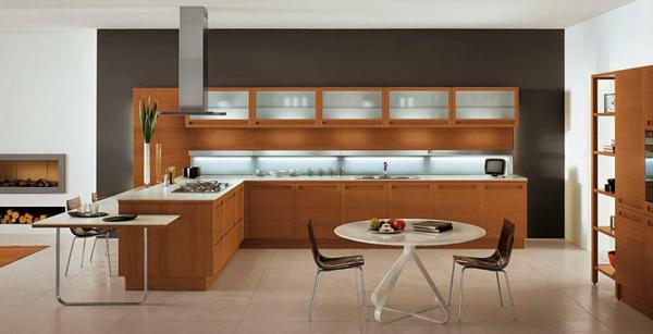 küchenmöbel-landhausstil-holz-beleuchtung - schlichte beleuchtung