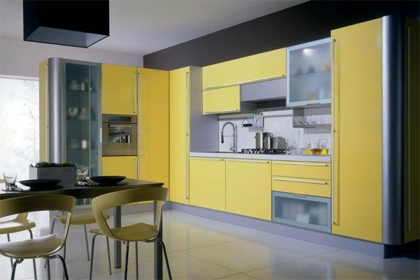 küchenmöbel-online-kaufen-gelbe-farbe - esstisch und stühle