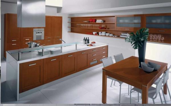 küchenunterschrank-tisch-in-einer-modernen-küche esstisch mit vier weißen stühlen