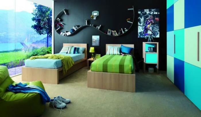 kinderzimmer-deko-in-türkis-farben-originelle-wandgestaltung
