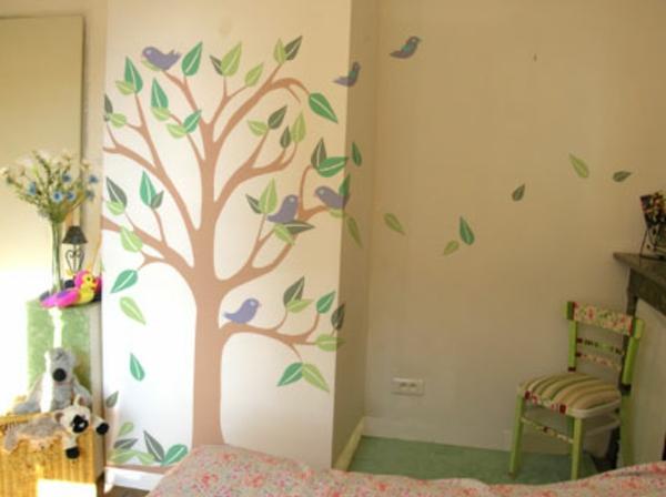 Kinderzimmer Wandgestaltung Wandbemalung Fr Kinder. Wandbemalung  Kinderzimmer Weie Decke Grne .