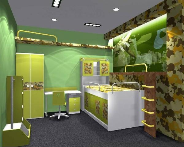 kinderzimmer-wandfarbe-grün- sehr originelles design
