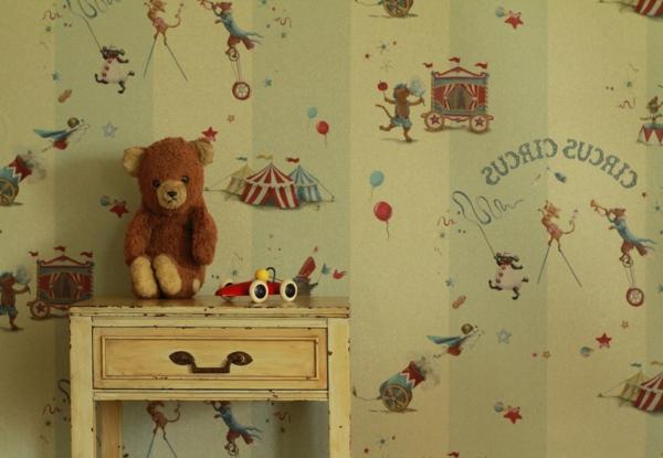 kinderzimmertapeten-interessante-idee- schublade und teddybär