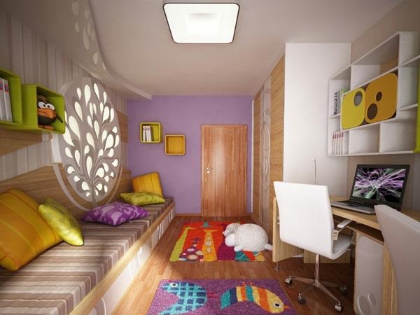 kindezimmer-mit-holzdeko-an-der-wand-schlichte-beleuchtung - niedliches aussehen