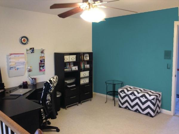 Kleines Arbeitszimmer Lagune Farbe Für Die Wand   Elegante Gestaltung