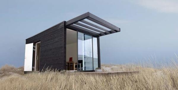 kleines-fertighaus-graue-farbe - moderne struktur