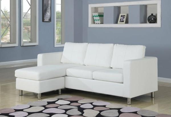 kleines-weißes-schlafsofa-ikea - moderner teppich