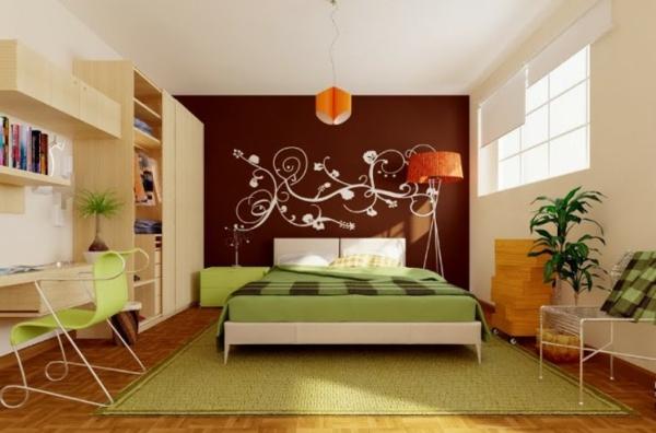 kreative-wandgestaltung-modernes-schlafzimmer-schreibtisch-aus-holz