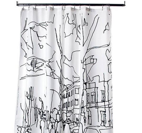 marimekko-online-shop-vorhänge-für-dusche-weiß-und-schwarz - hintergrund in weiß