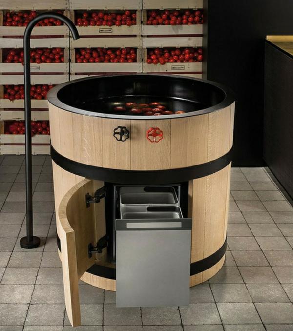 moderne-Küchenspüle-Edelstahl-Armaturen-Landhausstil-Look-Design-Küche - cool
