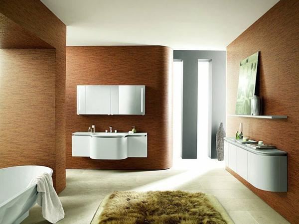 moderne-badezimmer-taupe-wandfarbe - möbelstücke in weiß