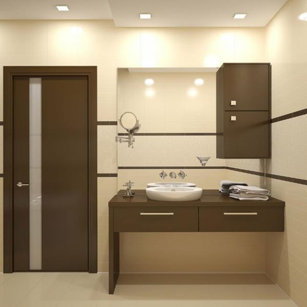 moderne-badmöbel - deckenleuchten und braune tür