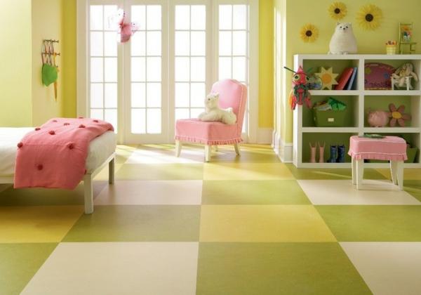 moderne-bodenbeläge-quadraten - modernes kinderzimmer gestalten