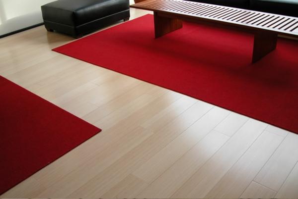 moderne-bodenbeläge-rote-teppiche - tischdesign