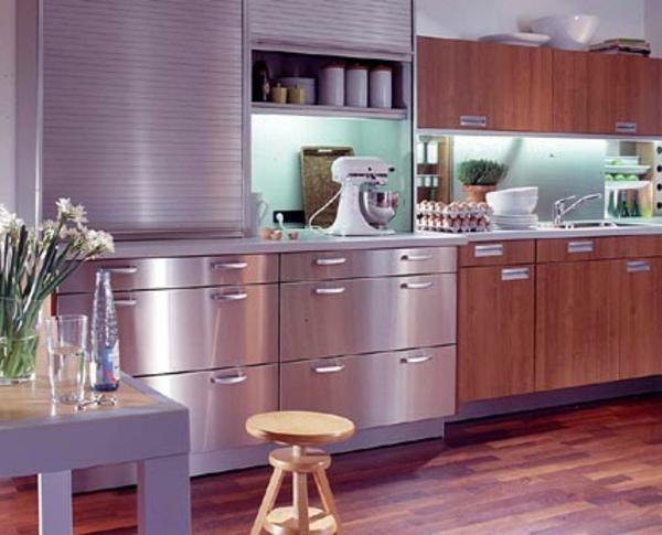 moderne-edelstahl-küche - einbauspülbecken- moderne küchenelemente