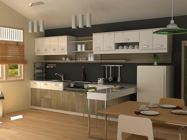 moderne-küche-beige-farbe - zahlreiche küchenschränke