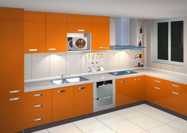 moderne-orange-küche-küchenunterschrank- ideen für küchenmöbel streichen