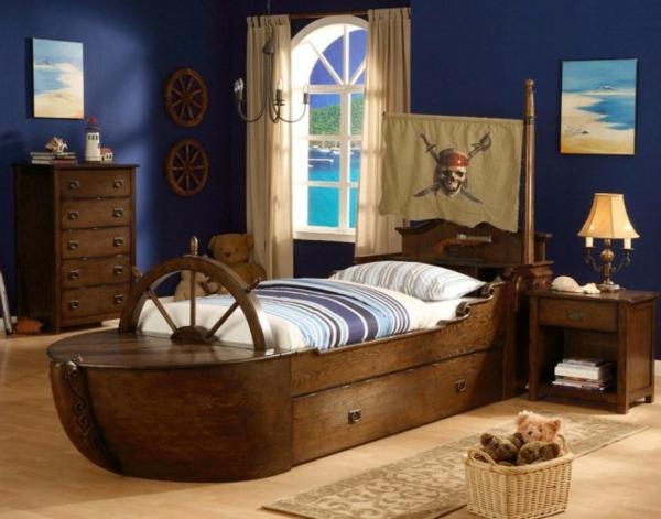 piratenkinderbetten-kinderzimmer-mit-dunklen-wänden - wie ein schiff aussehen