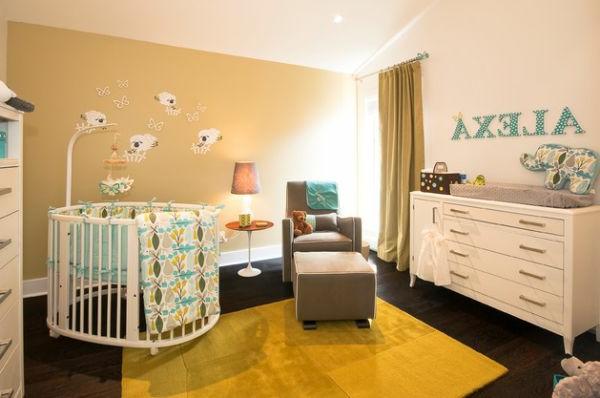 schöne-kinderbetten-interessantes-modell-in-weiß - teppich in gelb