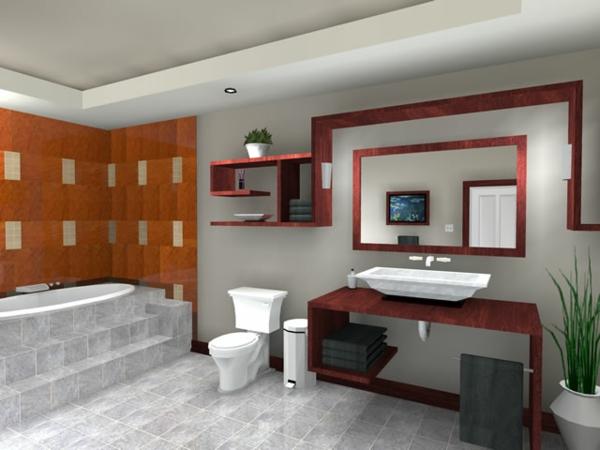 schöner-wohnen-badezimmer-interessante-gestaltung - moderne badewanne