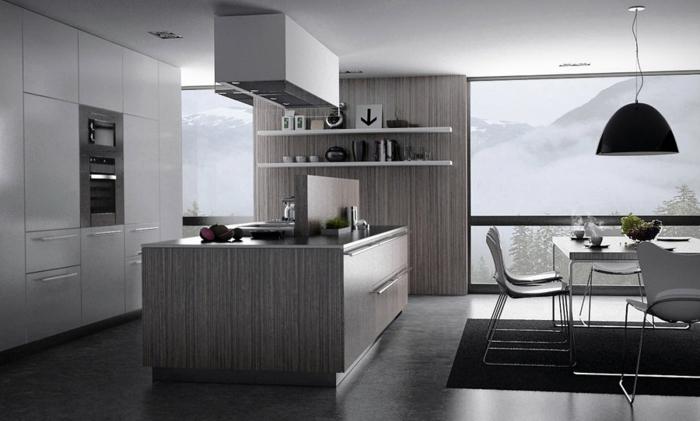 Idee moderne weisse küche mit kochinsel : schöner-wohnen-farben-graue-wandfarbe-in-der-küche