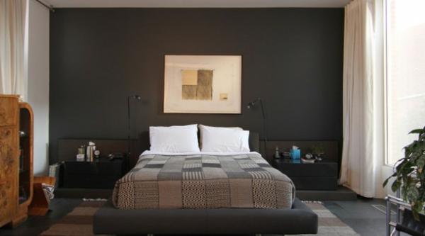 Fesselnd Schlafzimmerwandd Gestalten Dunkle Farbe Schönes Bild