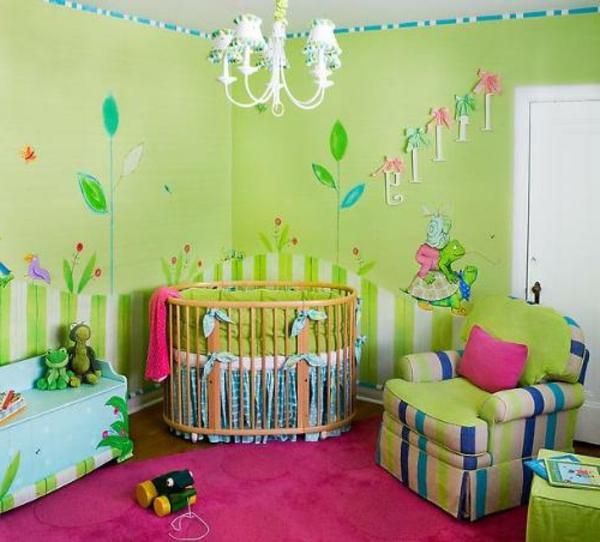 tapete-für-babyzimmer-grüne-farbe- interessante gestaltung