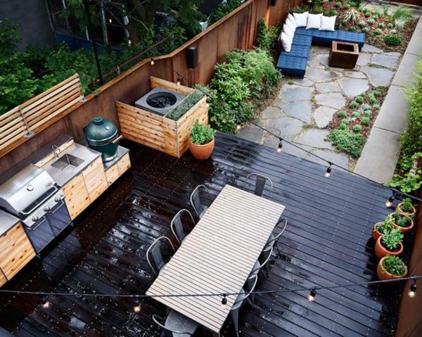 terrassenboden-sehr-originell-schwarze-farbe - küche und esszimmer draußen ausstatten