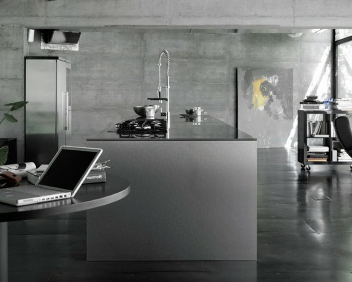 wand-streichen-ideen-für-die-küche-grau