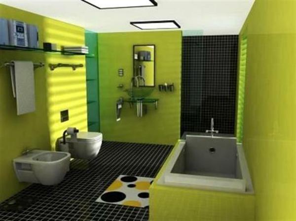wand-streichen-ideen-fürs-badezimmer - moderne badewanne
