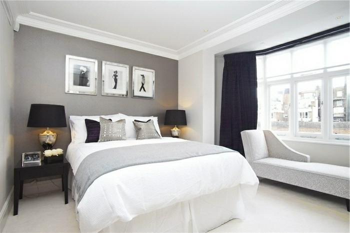 wand-streichen-ideen-fürs-schlafzimmer-graue-wandfarbe