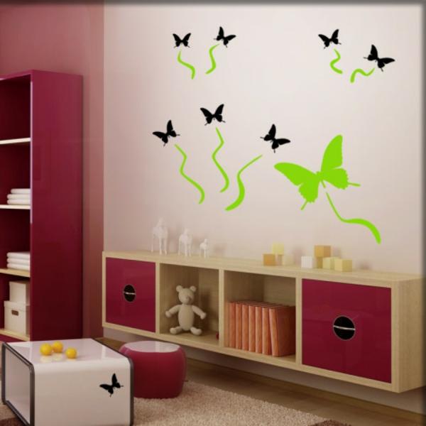 wandaufkleber-schmetterlinge-schwarz-gruen- schöner-wohnen-farbdesigner- niedlich